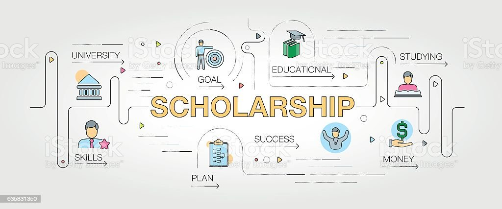 Scholarship banner and icons vector art illustration
