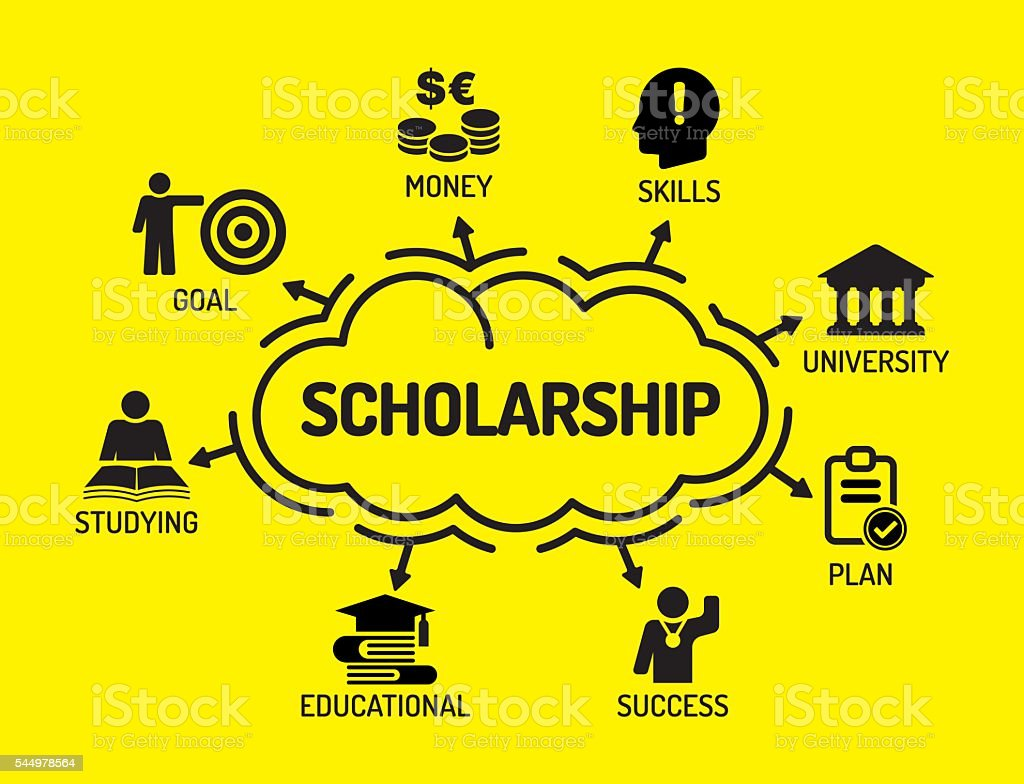 Scholarship. Chart with keywords and icons on yellow background vector art illustration