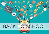School accessories flowing into school bag
