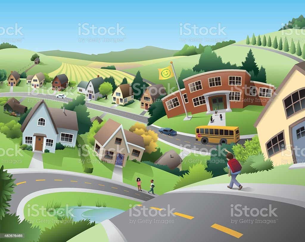 School and Community vector art illustration