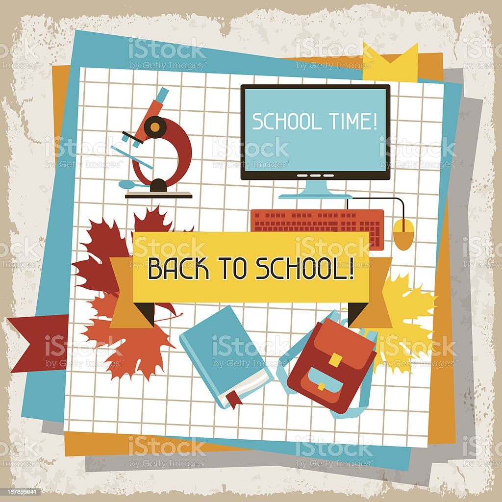 School and education background with sticky papers. royalty-free stock vector art