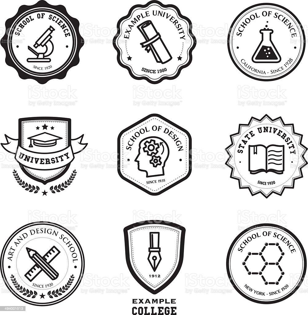 School and education badges vector art illustration