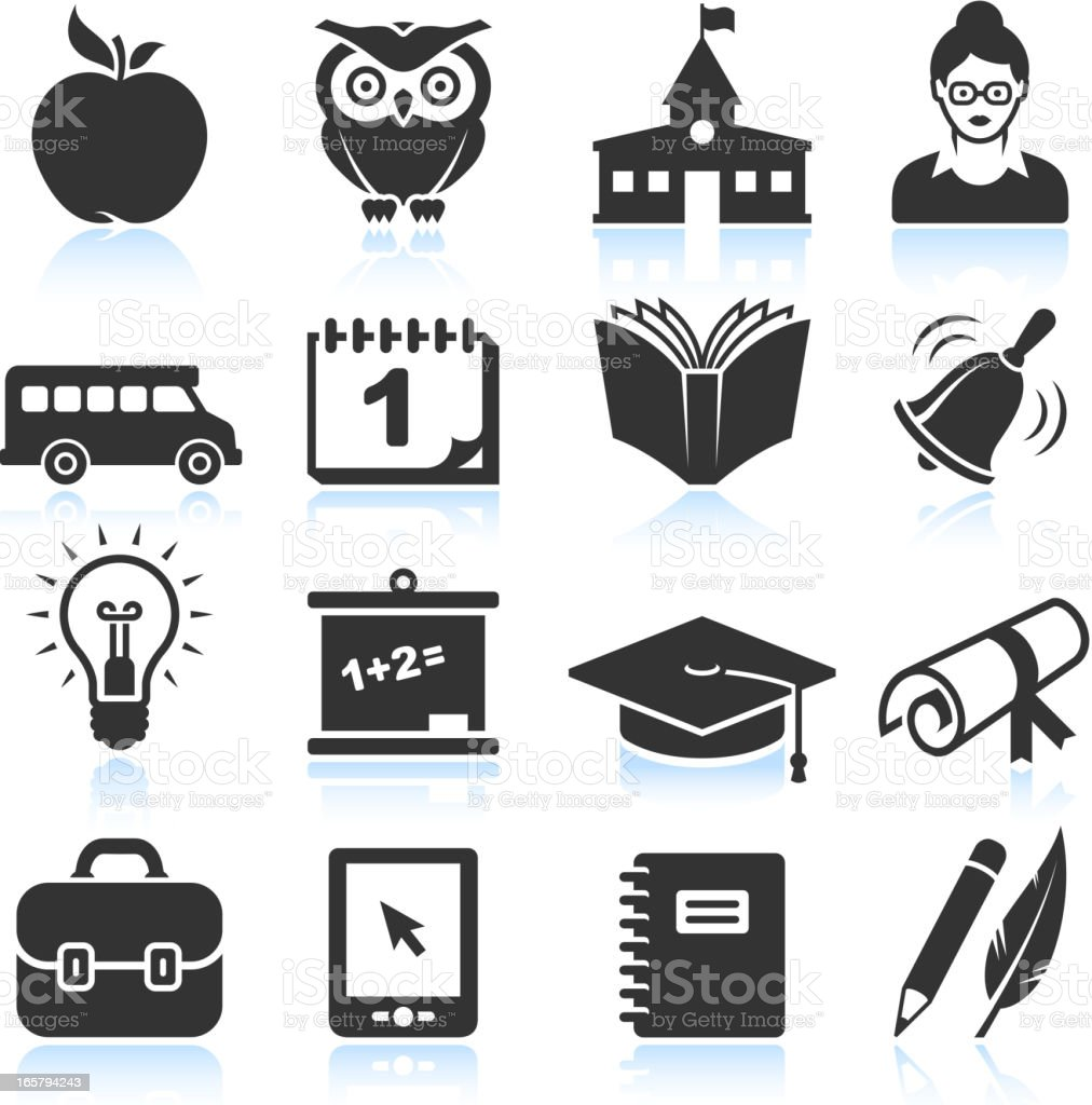 school and education black & white vector icon set vector art illustration