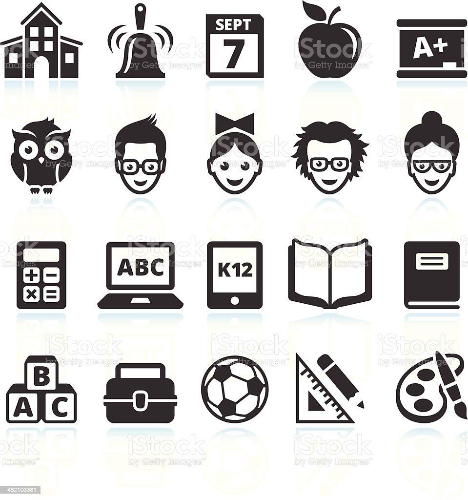 school and education black & white vector icon set vector art illustration