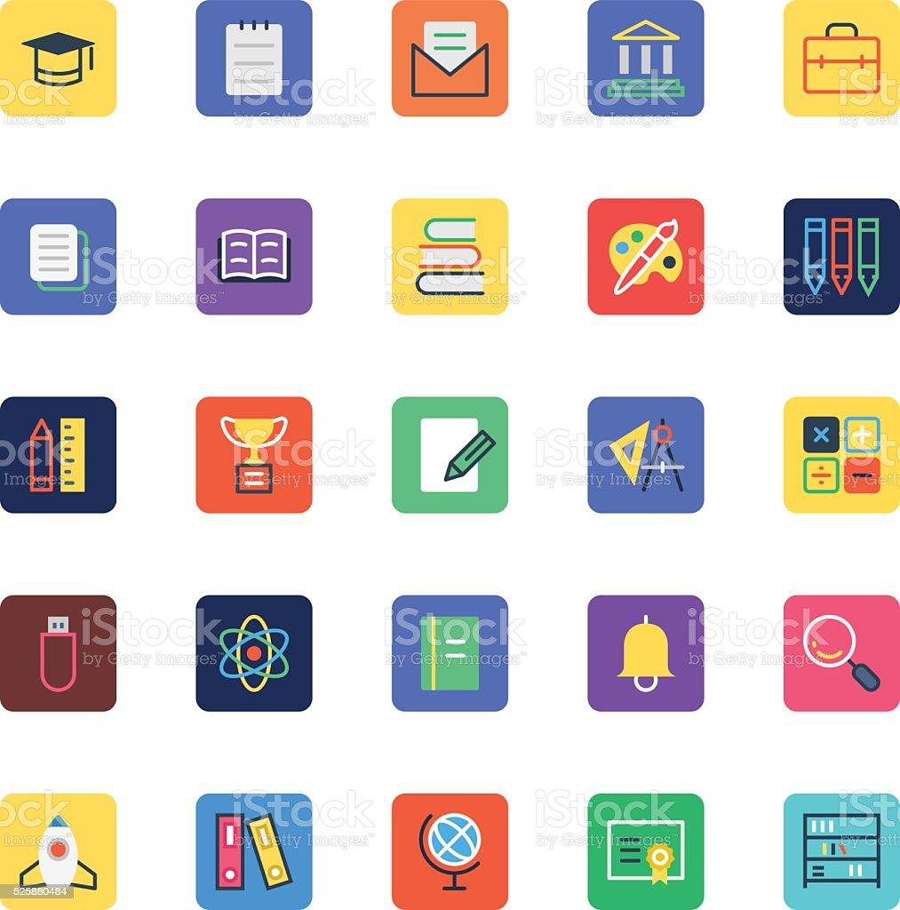 School and Education Colored Vector Icons 1 vector art illustration