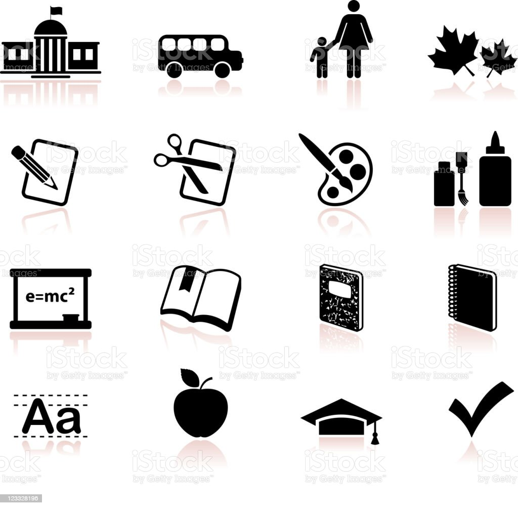 school and education educational black and white vector icon set royalty-free stock vector art