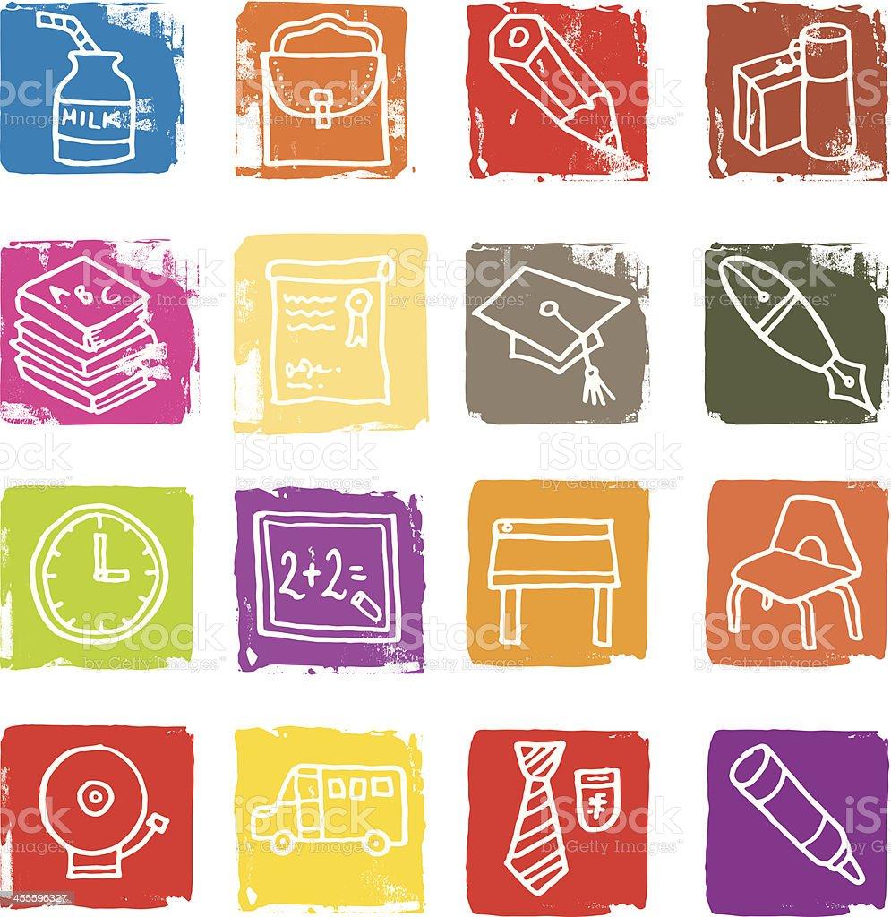 School and education icon blocks royalty-free stock vector art