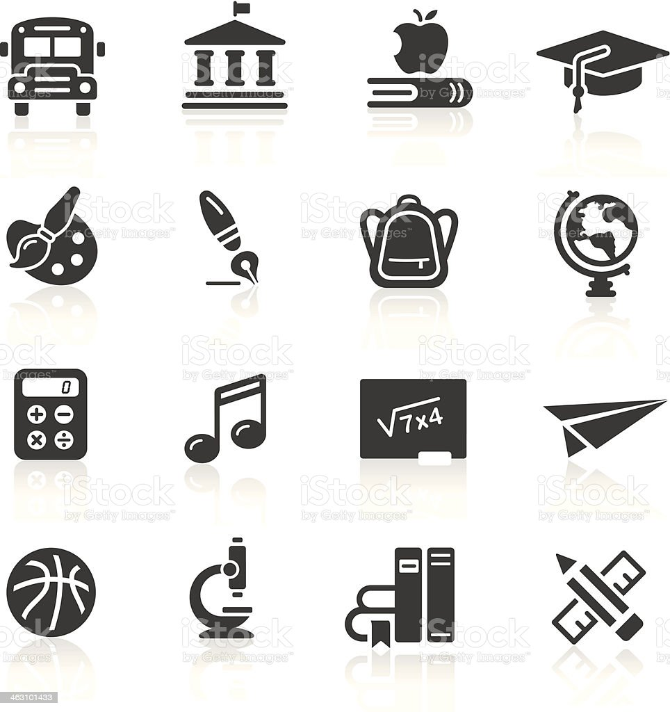 School and education icons in black on a white background vector art illustration