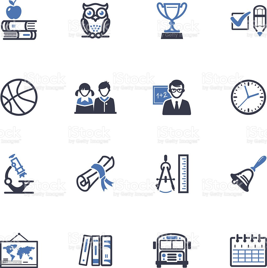 School and Education Icons Set 3 - Blue Series royalty-free stock vector art