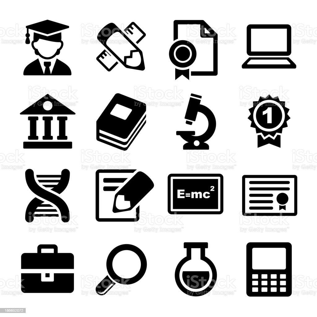 School and education icons set vector art illustration