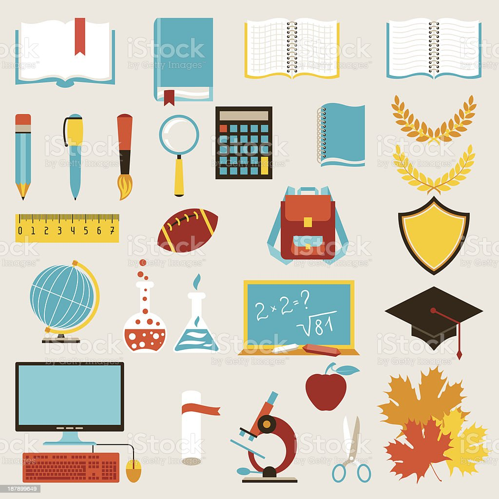 School and education icons set. royalty-free stock vector art