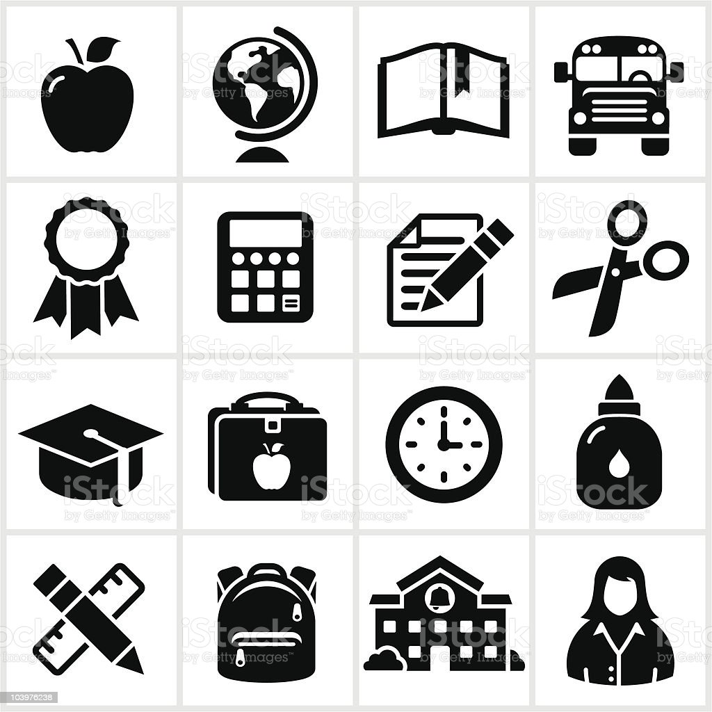 School and Education Icons vector art illustration
