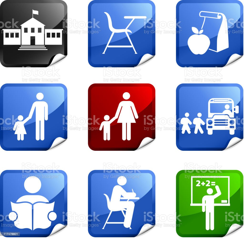 school and education nine royalty free vector icon set vector art illustration