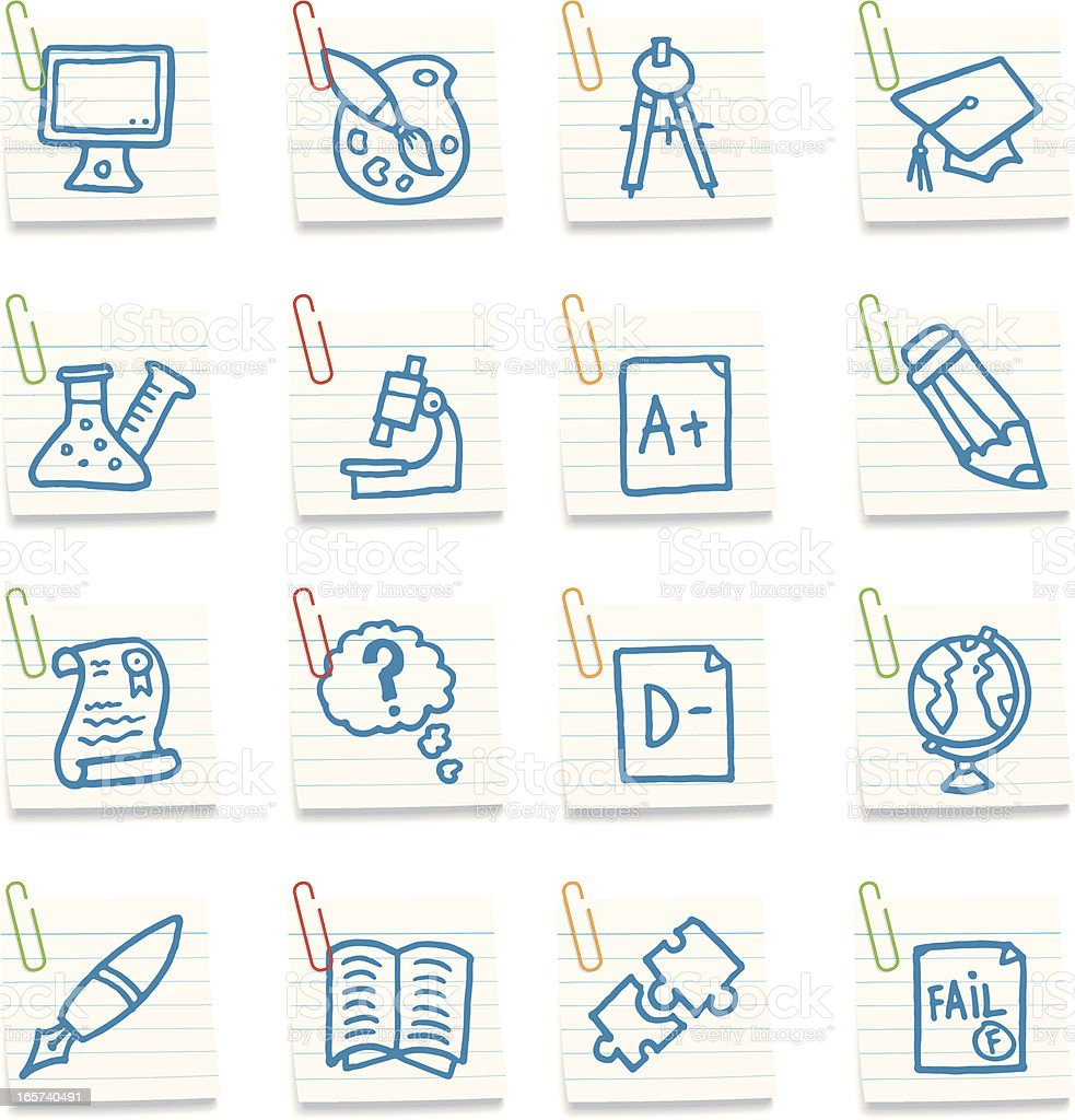 School and education post in note icons royalty-free stock vector art