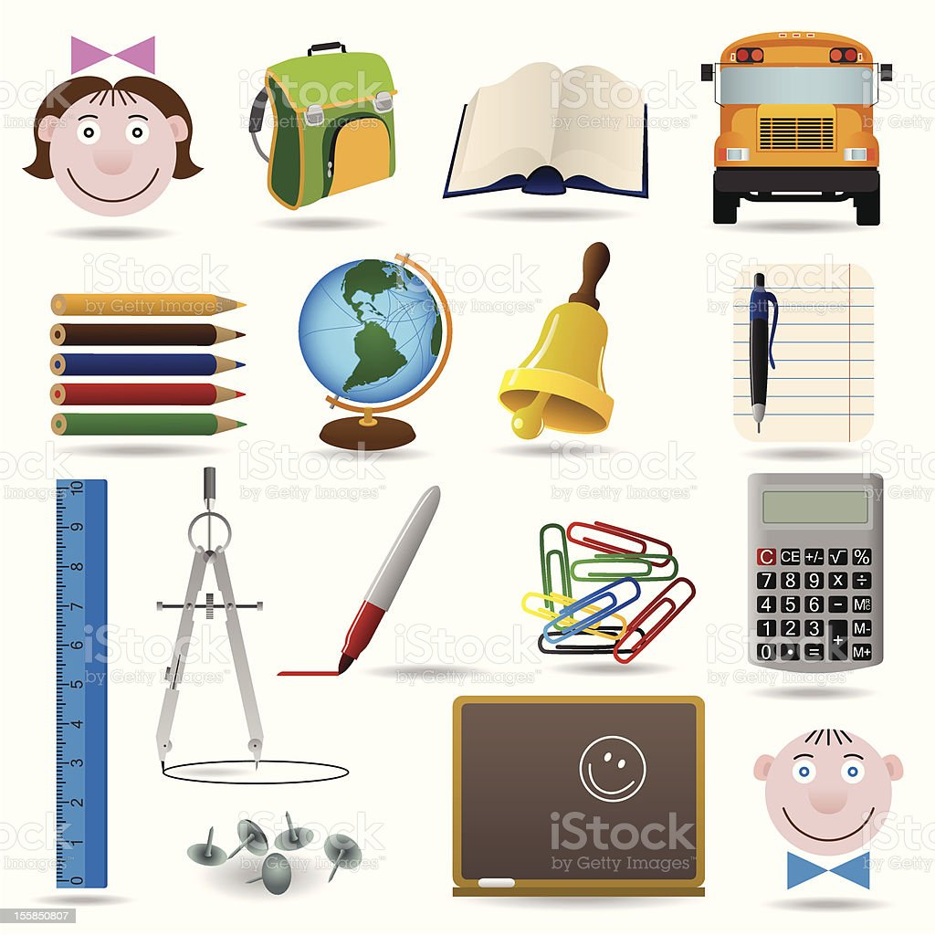 School and education vector icon set royalty-free stock vector art
