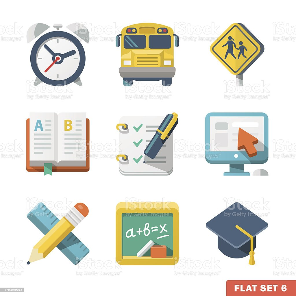 School and education-themed flat icons on a grid royalty-free stock vector art