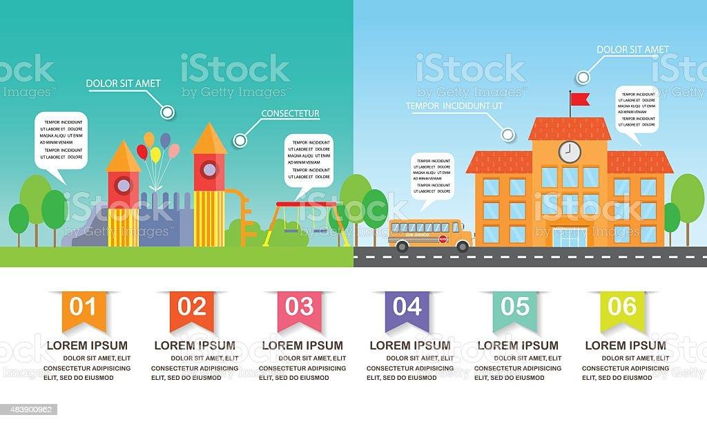 school and playground infographics vector art illustration