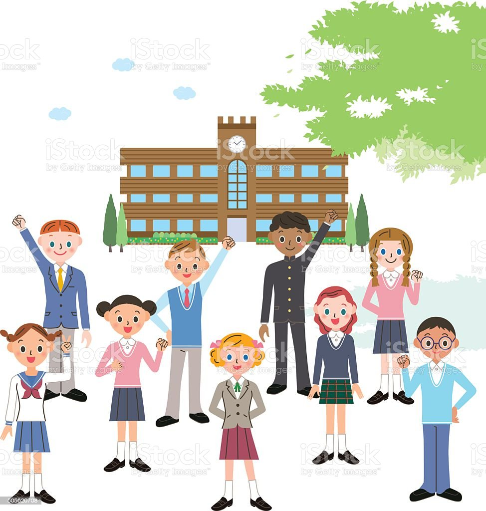 school and students vector art illustration
