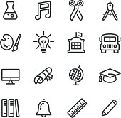 School and Subject Icons - Line Series