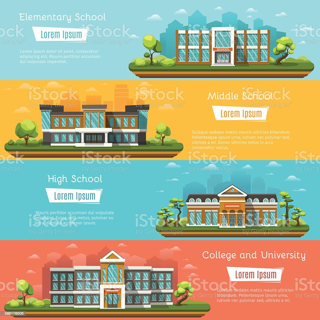 School and University buildings vector art illustration