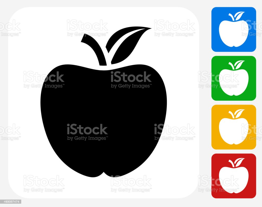 School Apple Icon Flat Graphic Design vector art illustration