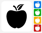 School Apple Icon Flat Graphic Design