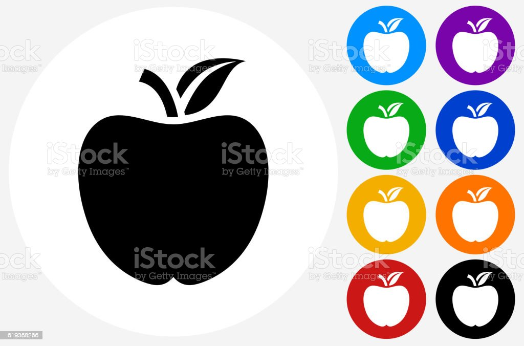 School Apple Icon on Flat Color Circle Buttons vector art illustration