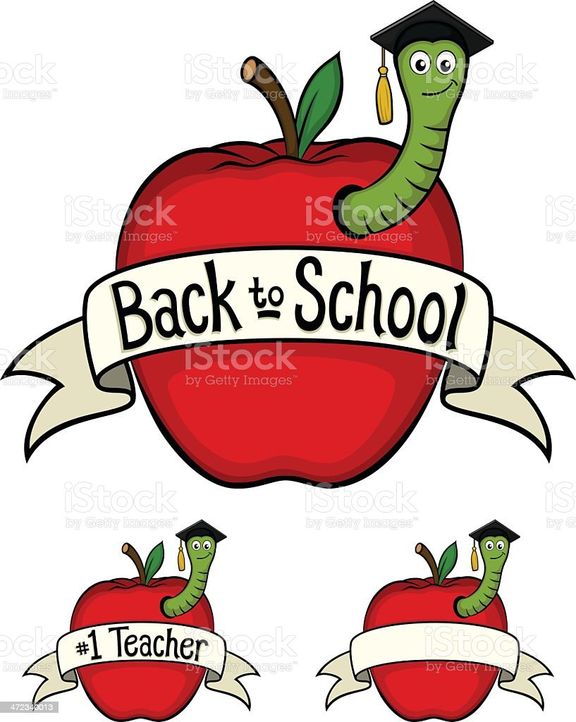 School Apples and Worm royalty-free stock vector art