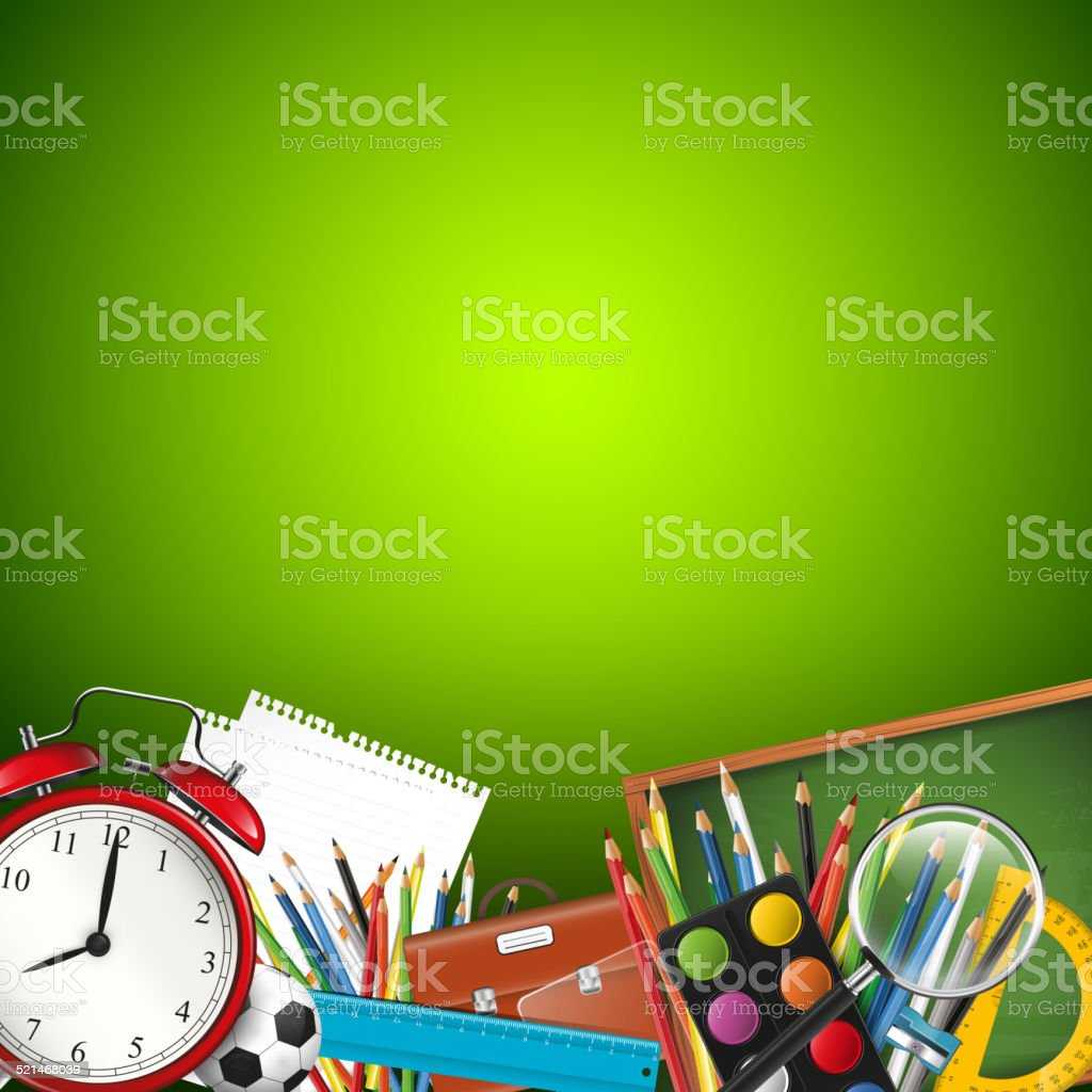 School background with copyspace vector art illustration