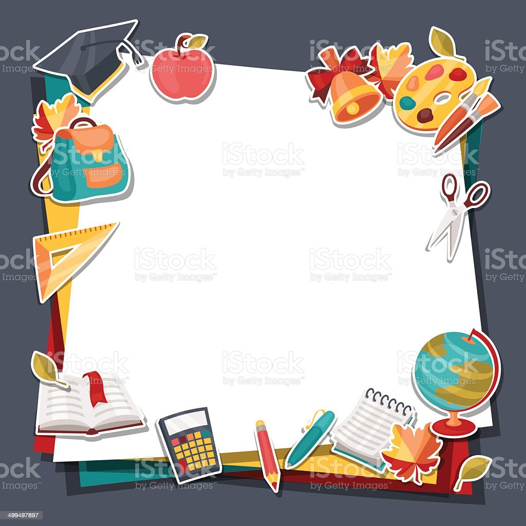 School background with education sticker icons and symbols. vector art illustration