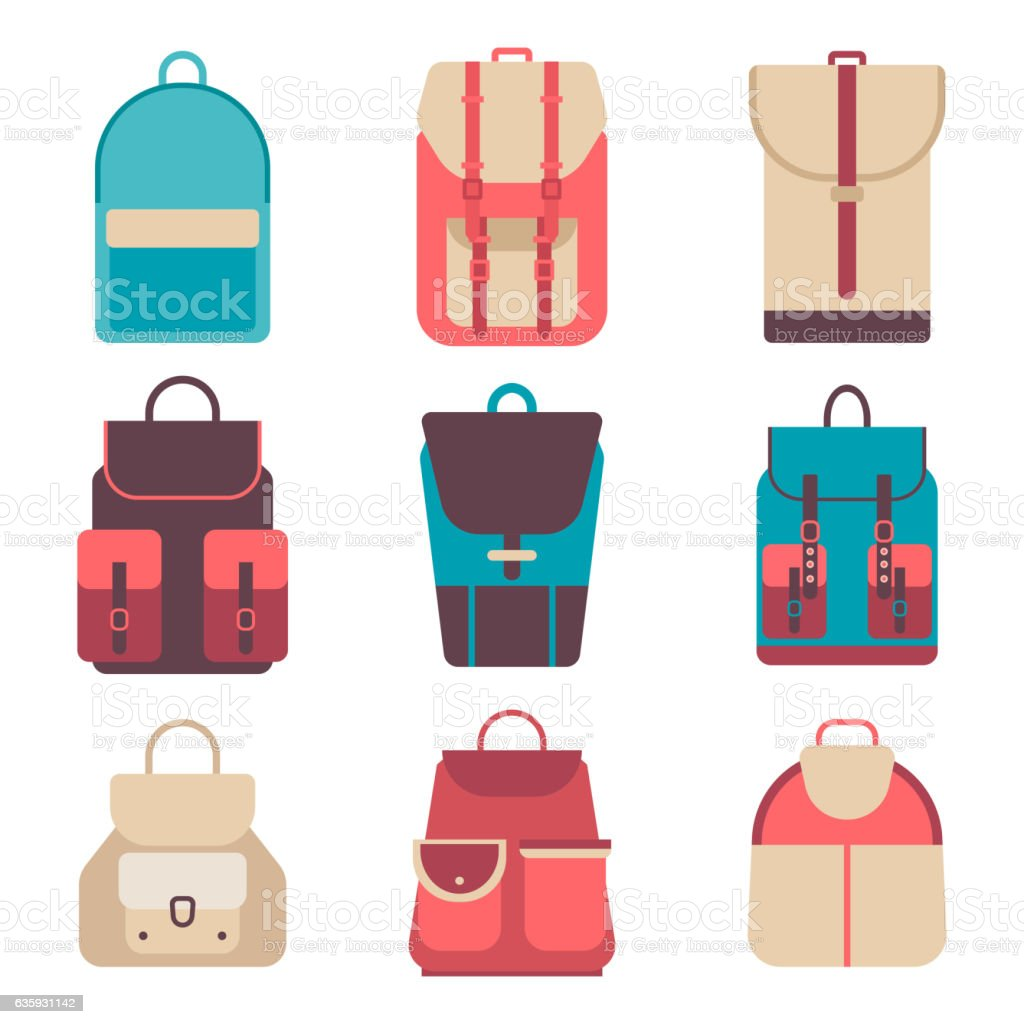 School backpack in a flat style. Kids  on  colored background vector art illustration