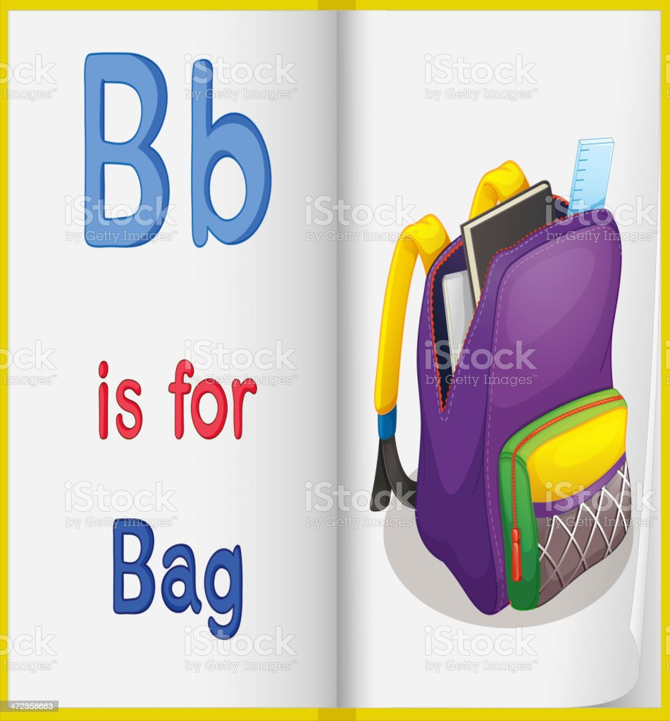 School bag and a book royalty-free stock vector art