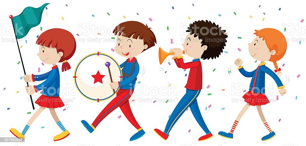 School band marching on the street vector art illustration