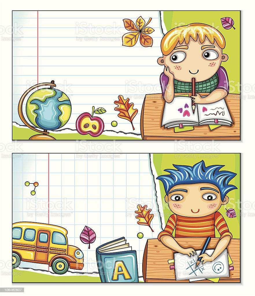 School banners with cute children (part 2) royalty-free stock vector art