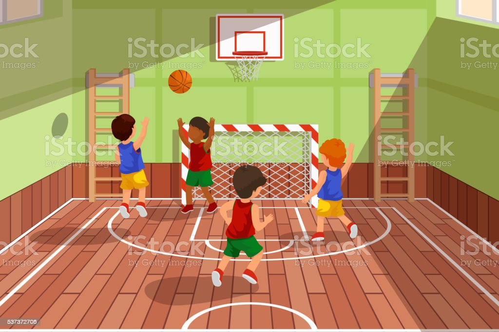School basketball team playing game. Kids are playing, vector illustration vector art illustration