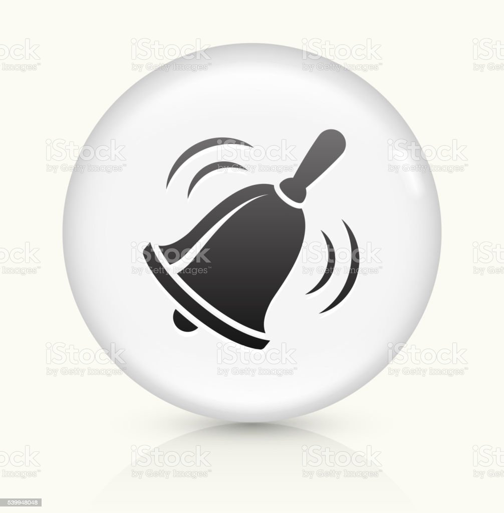 School Bell icon on white round vector button vector art illustration