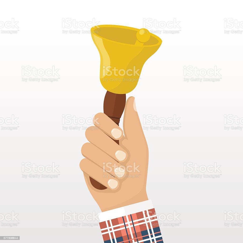School bell in hand vector art illustration
