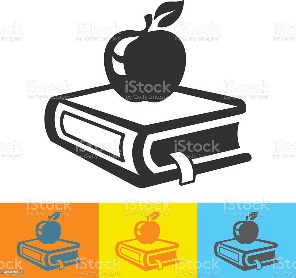 School book with fresh apple icon vector art illustration