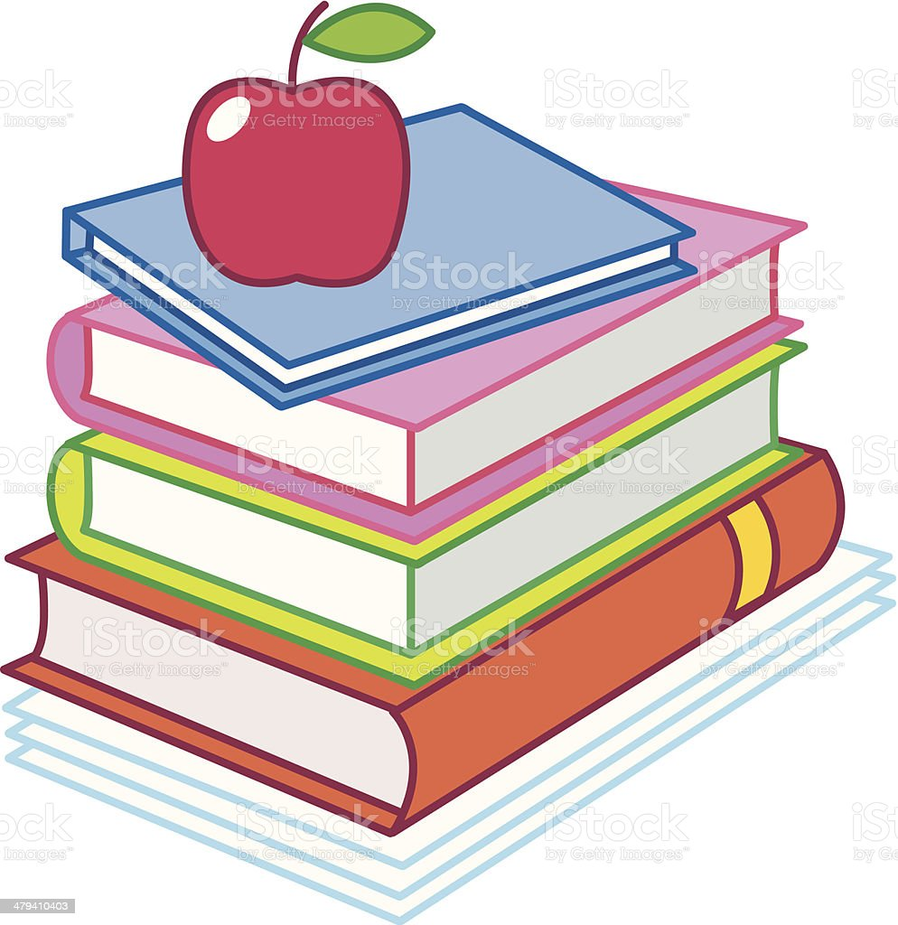 School - books and a red apple royalty-free stock vector art