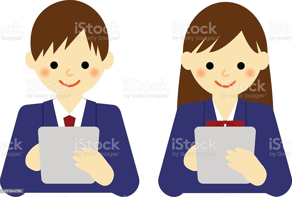 school boy and school girl using tablet vector art illustration