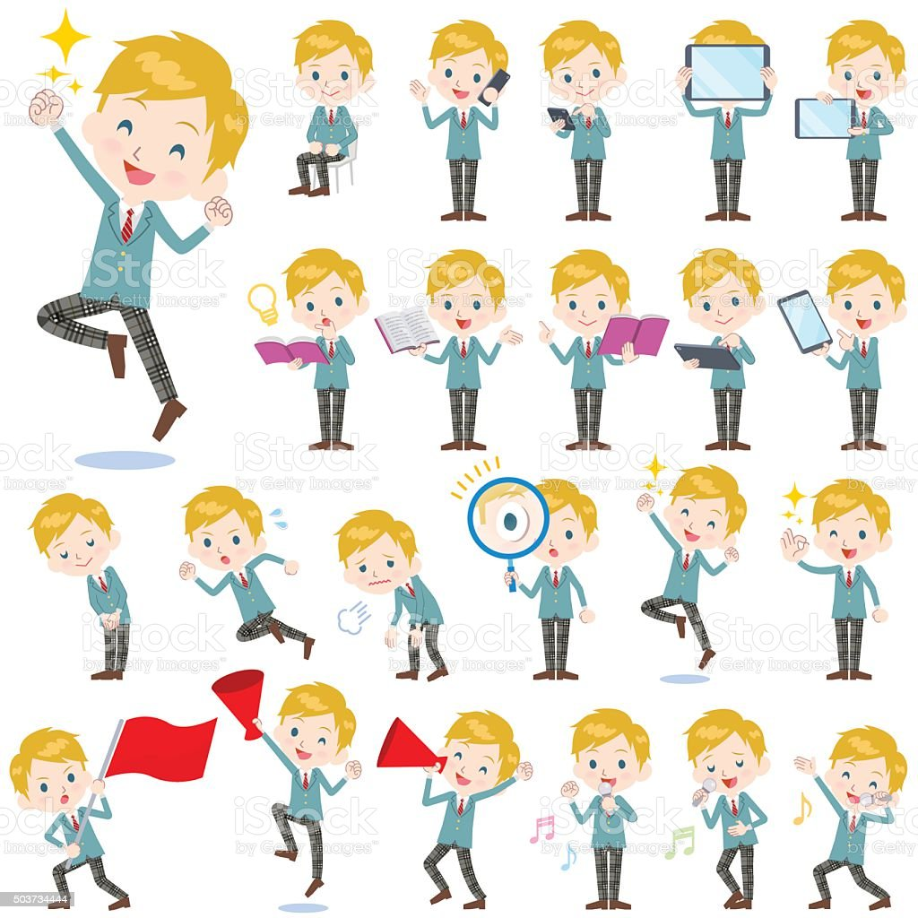 School boy Caucasian 2 vector art illustration