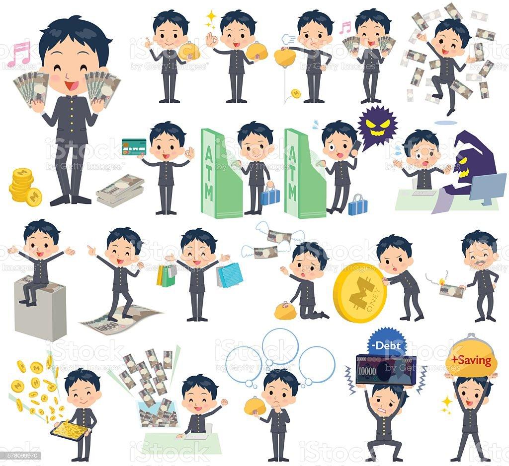 school boy gakuran money vector art illustration