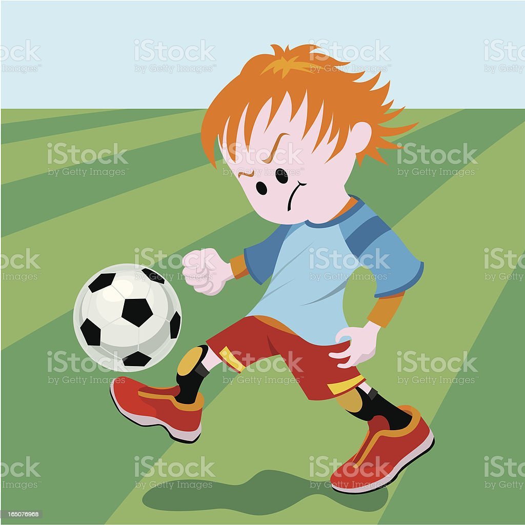 school boy playing soccer royalty-free stock vector art
