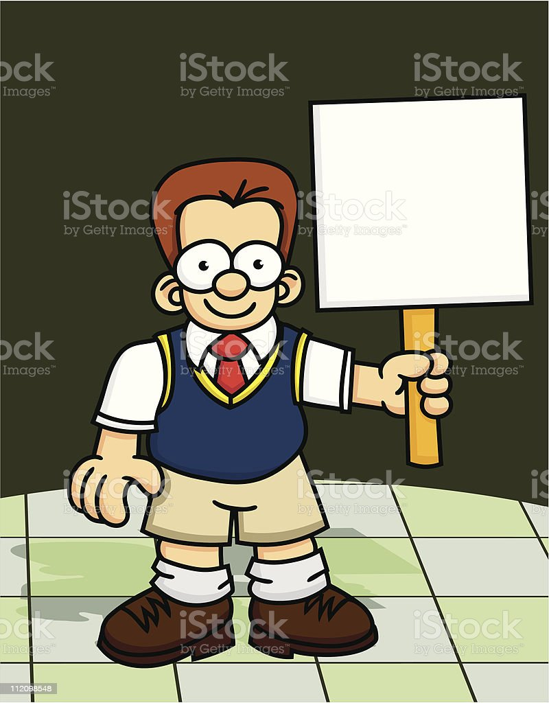 School Boy with Sign royalty-free stock vector art