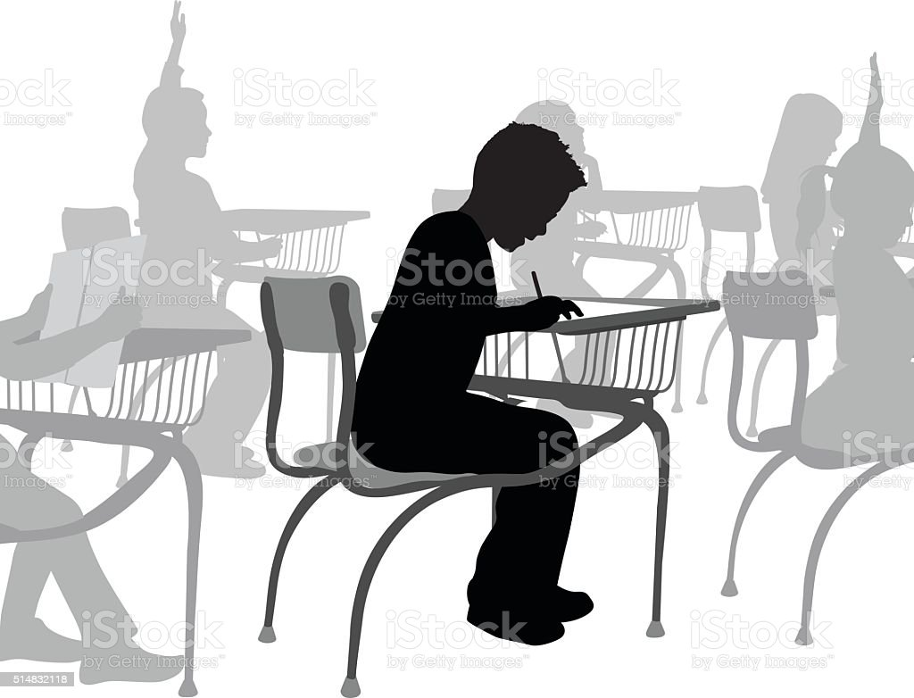 School Boy Writing vector art illustration