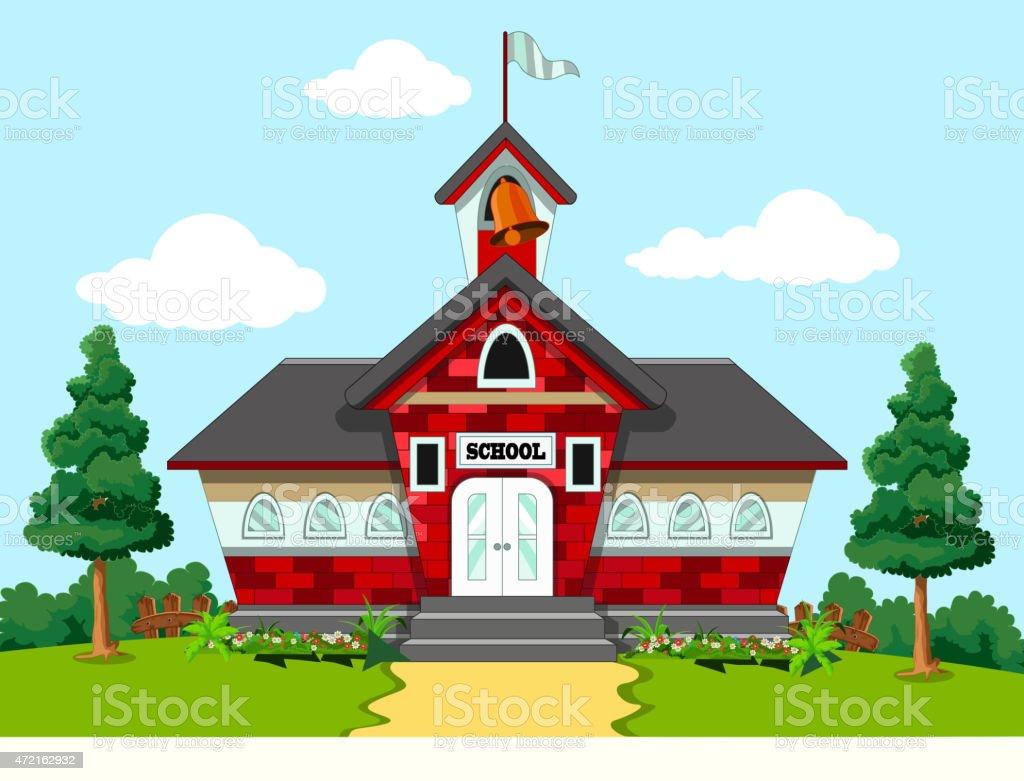 school building design vector art illustration