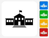 School Building Icon Flat Graphic Design