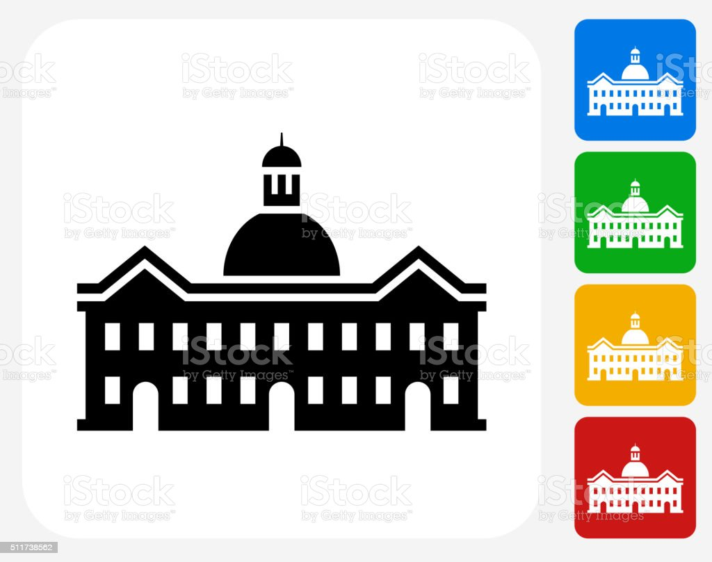 School Building Icon Flat Graphic Design vector art illustration