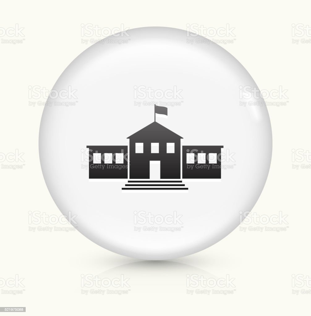 School Building icon on white round vector button vector art illustration
