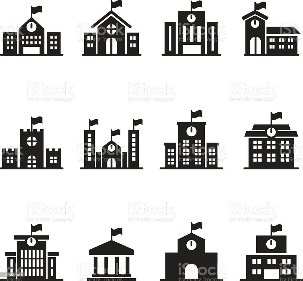 School building icons set vector art illustration